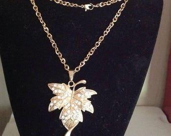 Crystal Leaf Pendant Necklace
