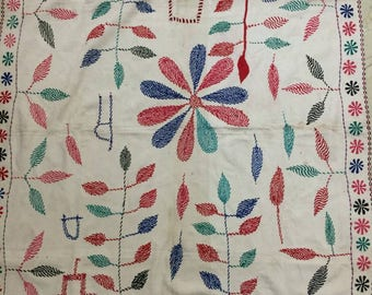 Antique kantha embroidery Quilted, East Bengal