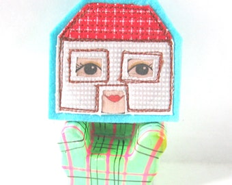 Little House Brooch, Dolls House Brooch, Textile Pin, Unusual Brooch, Contemporary Brooch, Patchwork Brooch