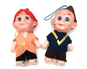Christmas Elf, Pixie, Christmas Decoration, Ornaments, 1960-1970, Hong Kong, Two ornaments