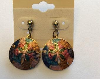 Vintage Enamel Sand Dollar post earrings