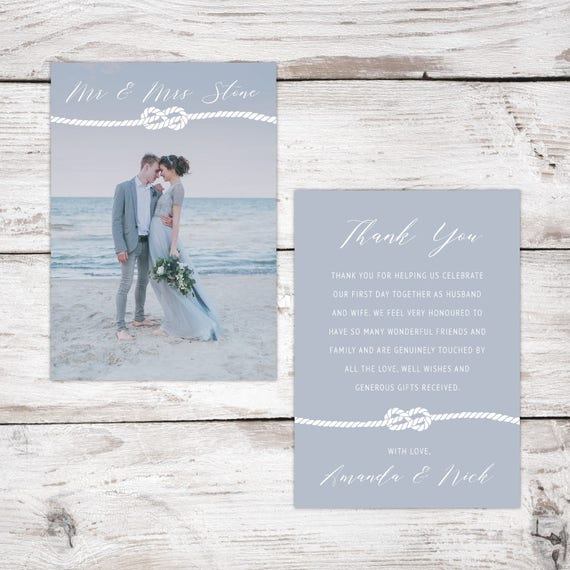 Nautical thank you cards with photo, Wedding thank you cards, Mr & Mrs thank you card, Personalised thank you cards, Thank you stationery