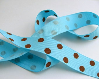 """7/8"""" Dotted Grosgrain Ribbon - Turquoise with Brown Dots - 5 Yards"""