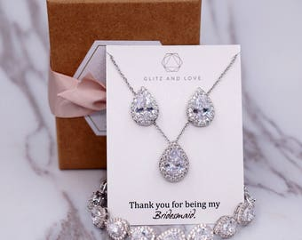 Wedding Bridesmaid Gift Bridal Earrings Necklace Bracelet Jewelry Set Clear White Cubic Zirconia Teardrop Ear Stud Earrings  E302 B85 N221