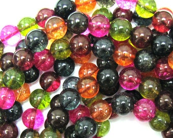 "10mm watermelon tourmaline quartz round beads 16"" strand S1 31356"