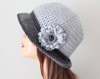 Crocheted Hat Gray Cloche Hat