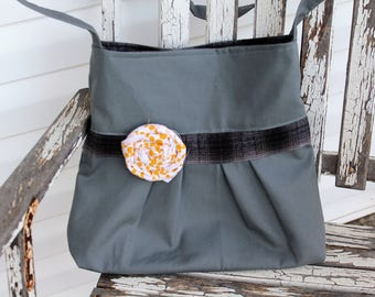 Gray Pleated Crossbody Bag, Gray Canvas Crossbody Purse with Gray/Black Plaid Flannel Lining, Ready To Ship