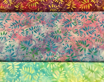 Fabric Freedom Batik style fabric in 3 colours By The Half Metre
