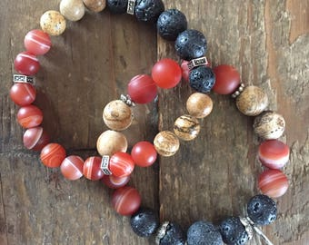 Rustic Red - Set of Two Aromatherapy bracelets
