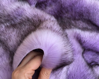 Orchid Kiss -  quality dense purple faux fur with black tip synthetic fur fabric -1m piece