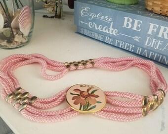 Vintage Pink Elastic Rope Belt with Iris Buckle size Medium