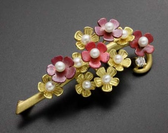 18K gold flower brooch, pearl brooch with red patina copper and diamond