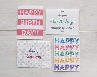 Happy Birthday Card Set | Block Birthday - Set of 8