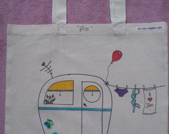 Hand drawn & illustrated tote bag, 100% recycled cotton