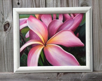 Plumeria Canvas Giclee, Plumeria Oil Painting, Frangipani Art,  Buddy Brown Art, Tropical Paintings, Vero Beach, Florida , Islands, Hawaii,