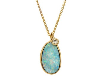 Opal Necklace, Australian Opal Necklace, Opal Diamond Necklace, Opal Pendant Necklace, Long Opal Necklace, Blue Opal Necklace, Opal, NIXIN