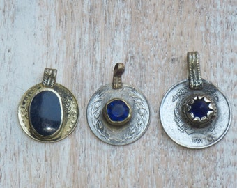 Kuchi Coin Pendant with Blue Center, Coin Pendant, Afghan Coin