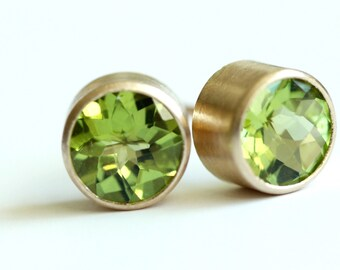 Peridot Stud Earrings in Recycled 14k Gold - Brushed Modern Finish - Bezel Set Posts - Faceted Gemstone Earring