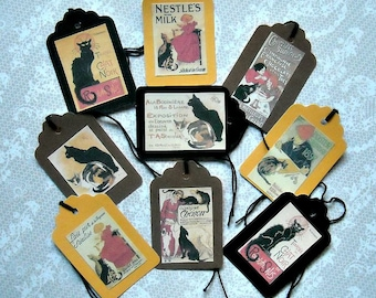 Set of 9 Steampunk Cat Gift TAGS & Labels- Vintage look steampunk Chat Noir vintage cat posters steampunk cat gift vintage tags