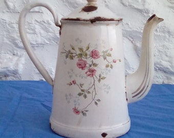 Antique French enamel coffee pitcher.