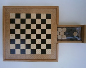Deluxe chessboard & tris - handmade by wooden mosaic's technique