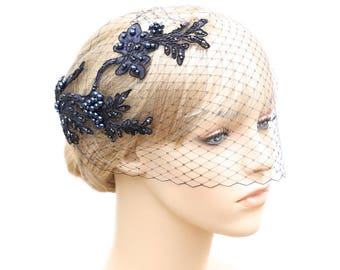 Navy Blue Birdcage Veil With Lace Midnight Blue Bridal Blusher Bridesmaid Wedding Special Occasion Dark Blue Hair Accessory Blue Headpiece