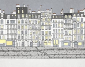 Quai in Paris, paris homes, Paris illustration, home decor