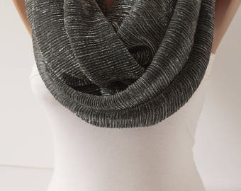 New Sparkly Infinity Scarf Smokey Gray Scarf, Circle Scarf, Loop Scarf, Christmas Scarves Fashion Women Accessories Gift For Her