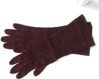 Burgundy Maroon Gloves Vintage Small Gloves Leaf Design