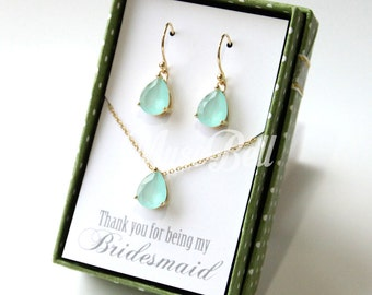 Mint jewelry sets, Mint necklace, Mint jewelry, Mint earrings, Bridesmaid gift, Mint wedding jewelry, Bridal jewelry sets