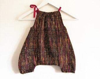 Harem pants combinaison tweed fuchsia mustard brown 12 to 24 months / sarouel combinaison girl