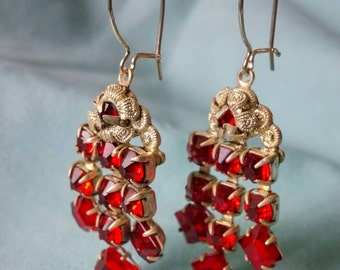 Silver with Red Glass Chandelier Earrings.