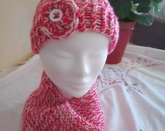 Pink and white scarf and hat set
