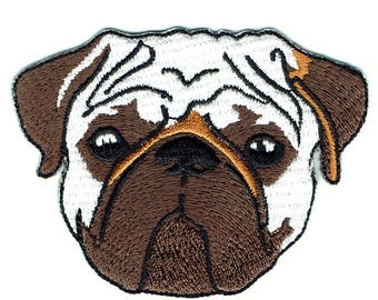 Pug Face Iron On Patch Embroidered Applique