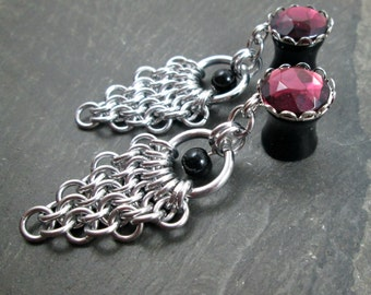 """Dangle Plugs - 00g 10mm - 1/2"""" 12mm - Gothic Gauges - Wedding Plugs - Chainmail Jewelry - Plug Earrings - Bridal Gauges"""