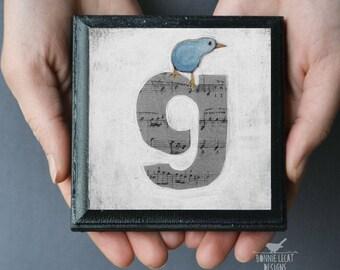 """Monogram Letters, Letter G Alphabet Block, ABC Art Block, Bird Nursery Art Block, Alphabet Letters, Whimsical Bird Alphabet Letter """"G"""""""