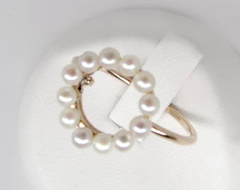 gold pearl circle ring, vintage pearl ring, art deco ring, art deco pearl ring, antique pearl ring, open circle ring, seed pearl ring