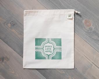 Reusable produce bag, Farmers market bag, Peace, love, and unity, Travel organizer, Reusable gift bag, Block print pouch, Organic cotton