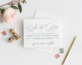 Editable Classic Save the Date Announcement Template, PDF JPEG Printable Invitation, Classy, Calligraphy, Instant Download, MAM212_01