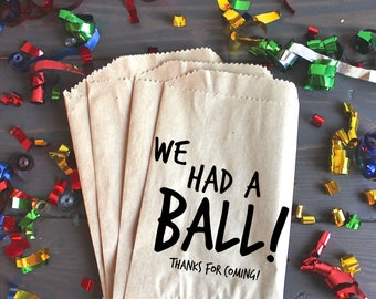 We Had a Ball, Party favor bags, Birthday Ideas, birthday party, birthday themes - Kraft Paper Bags