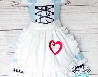 Alice and Wonderland- Birthday outfit- Alice in ONEderland- Mad hatter- Tea party - 1st Birthday- Apron- Ruffles- Girls Dress- Handmade