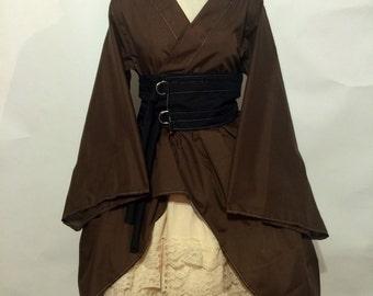 Gothic Waloli Kimono Set in Brown and Beige