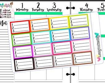 Half Box 123 list - Checklist - Planner stickers for Erin Condren, Happy Planner, Filofax and more!