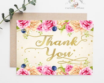 Tea Party Thank You Cards / Printable Baby Shower DIY Party