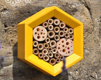 Bee Hotel | Honeycomb Solitary Bee House - Bee Hotel - Organic Gift for Gardeners - Gardner Gift - Modern Bee House - Fathers's Day Gift