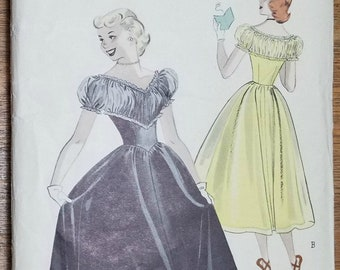 Vintage 1950s Butterick 5526 Party Dress Pattern Size 10 Bust 28""