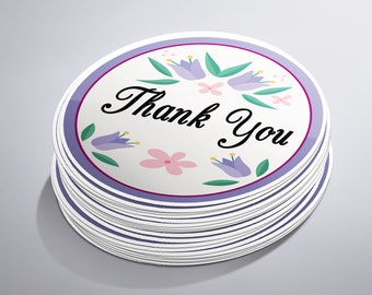 Thank You Stickers, Thank You Labels, Stickers Thank You, Envelope Stickers, Spring Stickers, Thank You For Coming, Purple Stickers, 2 Inch