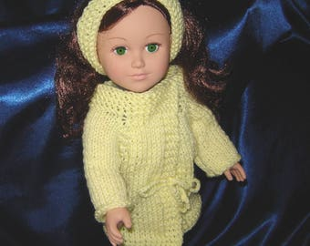 """Hand Knit 18 Inch Doll Coat and Headband in Yellow - For 18"""" Doll - Knit Doll Clothes - American Made - Girl Doll Clothes"""
