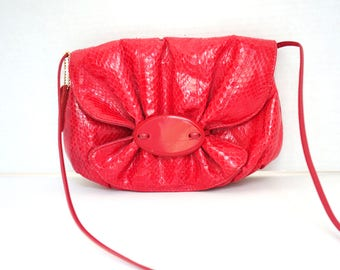1980s Small Red Snakesin Purse Flap Closure Crossbody Strap