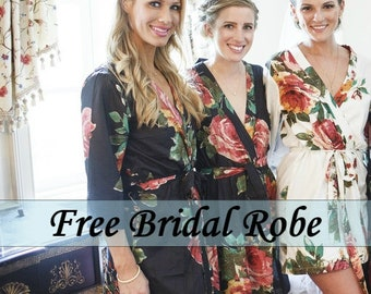 Bridesmaids Robes/ Bridesmaid Robes/ Bridesmaid Gift/ Navy Robes/ Navy Bridal Robe/ Getting ready/ Bridal shower favor/ Cotton Floral Robes